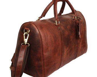 Valentine s Day Gifts 20 Inch Leather Travel Bag,Weekend Luggage,Overnight  Bag,Travel Bag,Gym Bag,Brown Duffel Carry On Airplane(Mullberry) 5456ab9969