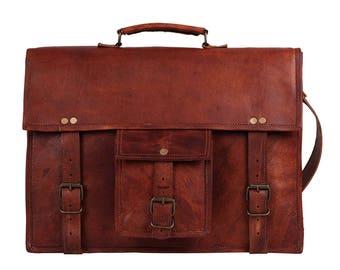 Mother s day gifts Leather Satchel Briefcase 15 inch Laptop Portfolio Messenger  Bag Real Leather Portfolio Attache Laptop Business Bag 1f486297603c4