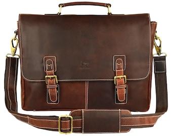 Messenger Bag 16 inch Handmade Leather Satchel Tan Briefcase Messenger Bag  Real Leather Portfolio Attache Laptop Business Bag f903ff9aaaac6