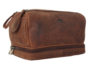 8e2d638168 Handmade Buffalo Genuine Leather Toiletry Bag Dopp Kit Shaving and Grooming  Kit for Travel Hanging Zippered Makeup Bathroom Cosmetic Pouch