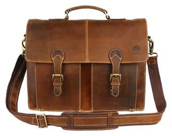 16 inch Briefcase leather office bag shoulder bag conference bag mens business bag portfolio bag leather vintage bag brown Fathers day gift