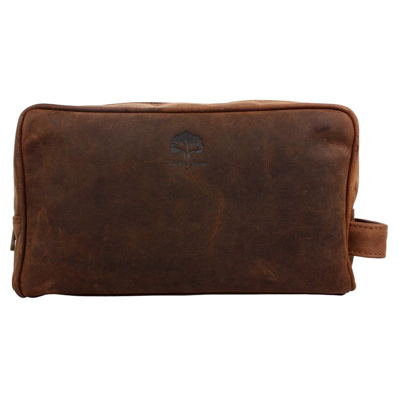 Handmade Leather Toiletry bag leather cosmetic bag dopp kit  334c9456ddf39