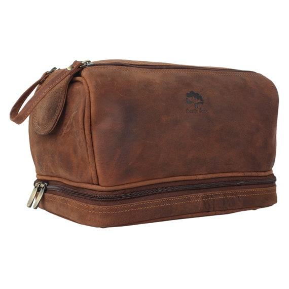 375d915b43 Handmade Buffalo Genuine Leather Toiletry Bag Dopp Kit Shaving