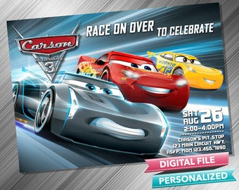 Cars 3 Invitation Invite Birthday