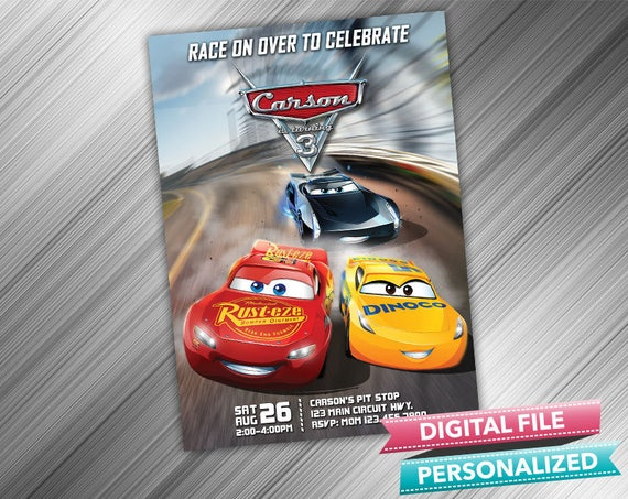 Cars 3 Invitation Cars Invitations Cars Invite Cars Birthday Etsy