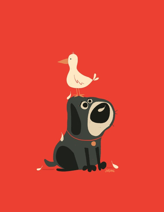 Image result for A dog and a duck friend art