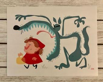 Little Red Riding Hood Wolf iPad Art Linen Print