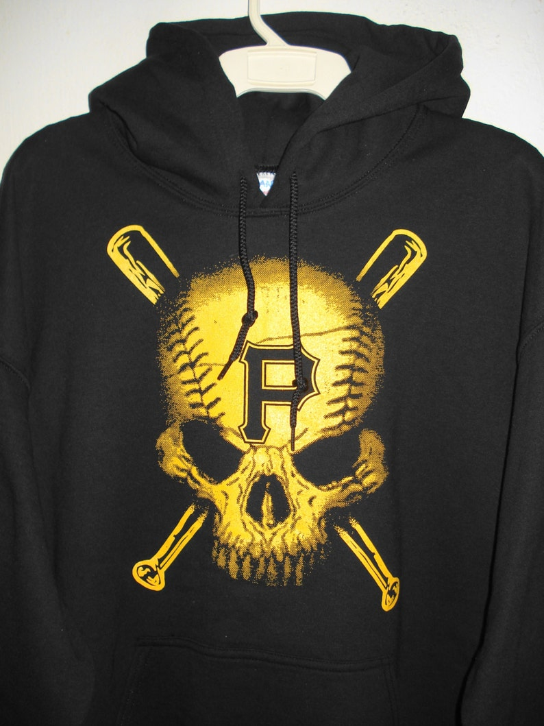 detailed look acf43 0f8d8 Pittsburgh Pirates Baseball Hoodie Size Adult M-5XL Pittsburgh Baseball  BaseSkull & CrossBats Raise The Jolly Rodger Black and Gold NEW