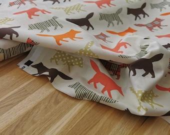 Stoff Baumwolle / Kinderstoff Fuchs bunt/beige