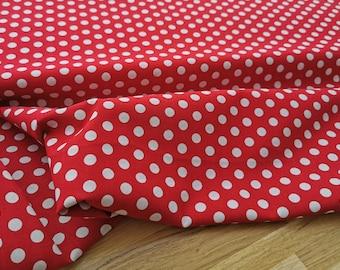 Stoff Baumwolle mit Punkten rot/weiß