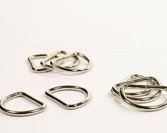 8 D-Ringe, Halbringe silberfarben 20mm geschlossen