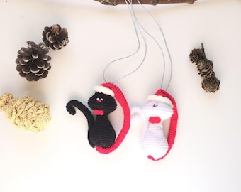 black and white cat christmas tree ornaments christmas tree cat figure sale last minute christmas orders - Black Cat Christmas Tree Decoration