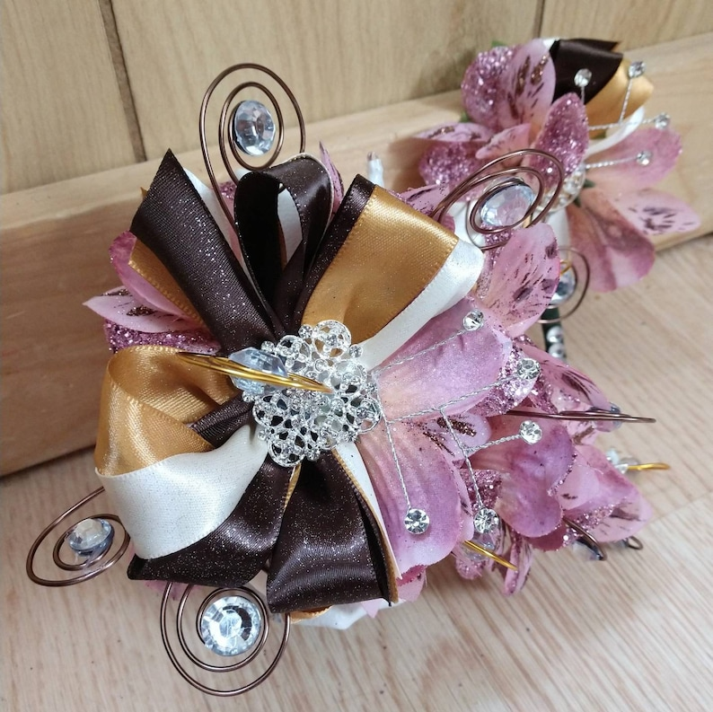 FREE SHIPPING!**LED light up corsage in light pink ivory and brown with boutonniere