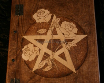 Wooden handmade Book of Shadows with pentagram and roses, 150 sheets of blank paper, FREE UK SHIPPING, Grimoire, Witch's book, spell book