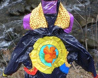 original patchwork raincoat for girl