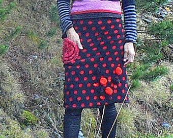 winter black and red patchwork FLAMENCO skirt