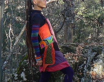 ethnic corduroy winter patchwork dress