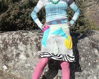 summer, ethnic and kitsch patchwork skirt