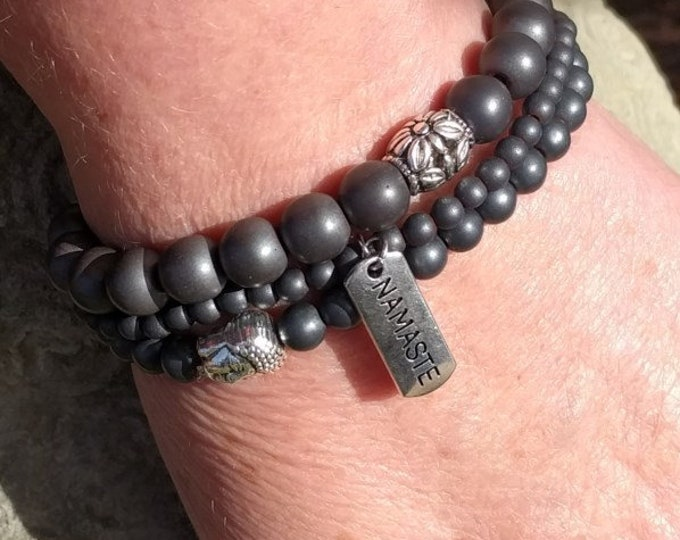 dark grey yoga theme bracelet set