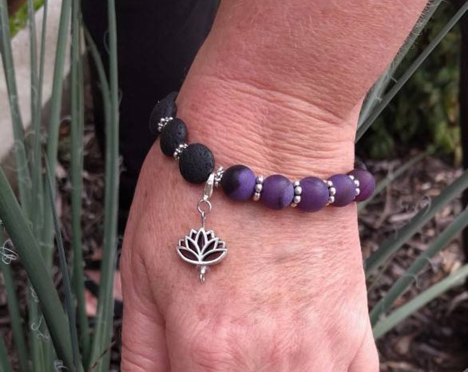 Amethyst Lotus Lava Diffuser Bracelet