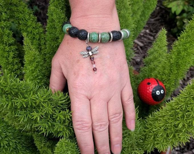 Dragonfly Lava Diffuser Bracelet