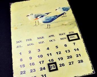 Vintage Perpetual Calendar Bird Calendar Wall Calendar Vintage Seagull Calendar Vintage Home Decor Magnetic Hanging Calendar