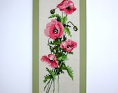 1950s Vintage Needlepoint Vintage Sampler Vintage Woolwork Handmade Woolen Tapestry of a Bouquet of Pink Roses and foliage