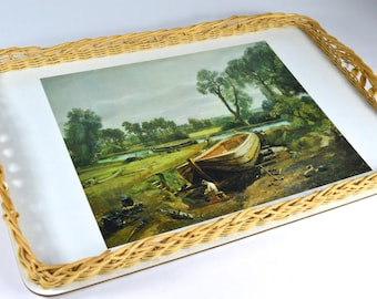 Vintage Wicker Wooden Tray Vintage Serving Vintage Afternoon Tea Boat Building near Flatford Mill John Constable