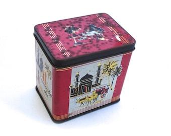 1950s Vintage Tea Tin Ridgways Ltd Tea Producer Ridgways Delicious Blend Tea Vintage Sewing Tin Vintage Button Tin