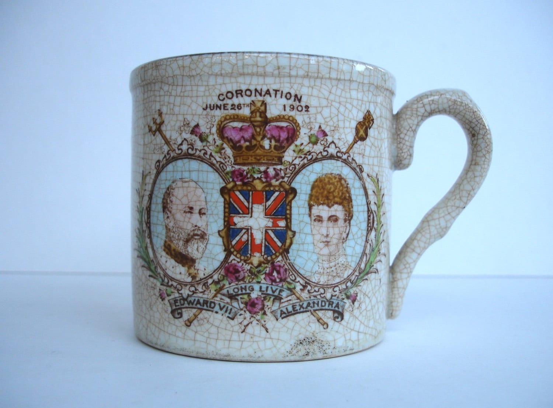 1902 Harrods Foley recuerdo loza taza coronación taza
