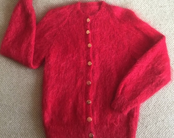 Red Mohair Cardigan Handknitted