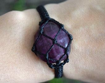 Purple Fluorite  Bracelet, Adjustable Bracelet, Fluorite Jewelry, Macrame Bracelet, Purple Bracelet, Stone Bracelet, Healing Crystal, Wicca