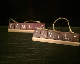 Maroon Personalized Scrabble Ornaments- your choice up to 9 letters- mounted on a scrabble tile rack