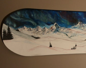 Northern Lights - Painted Snowboard