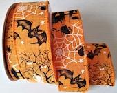 Eerie Orange Halloween Ribbon, Wired Spooky Wreath Ribbon 38 mm, Halloween Ribbon, Gift Wrapping, Bow Making, Decoration Ribbon