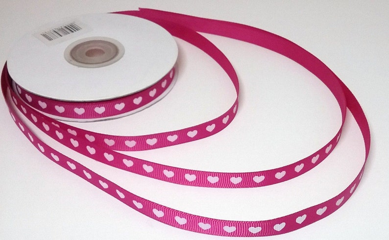 "HEART LOVE VALENTINES  GROSGRAIN RIBBON 1 2 3 METRE BOWS CAKES  1/"" 25 MM CHOICE"