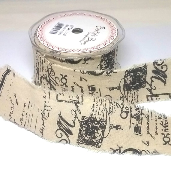 45mm Wide Frayed Edge Cotton Ribbon Merry Christmas