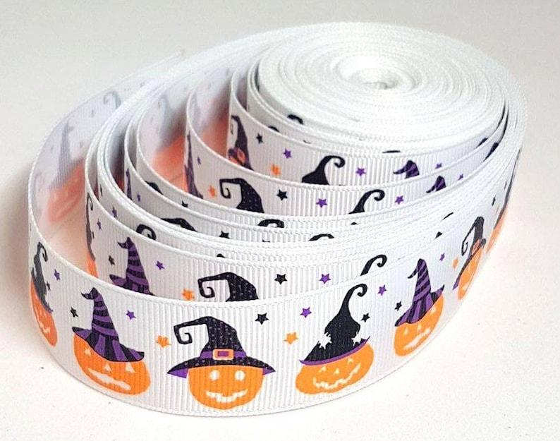 Halloween spider web printed 16mm satin ribbon hair bow cake gift trick /&treat