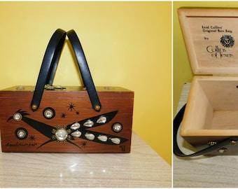 60s Enid Collins of Texas Roadrunner Wooden Box Bag Vintage Purse 1960s Kitsch Retro Handbag Box Purse