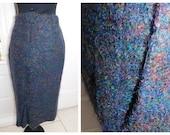 Vintage Mohair Wool Blend Skirt Purple Lilac Rainbow Mohair Skirt