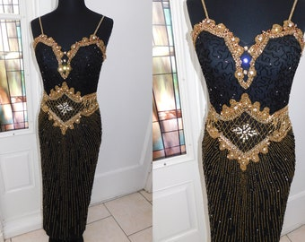 c6dcec8d48ff4 Vtg 80s Beaded Silk Gatsby Art Deco Flapper Egyptian Revival Gown 1920s  style Beaded Rhinestone Gown