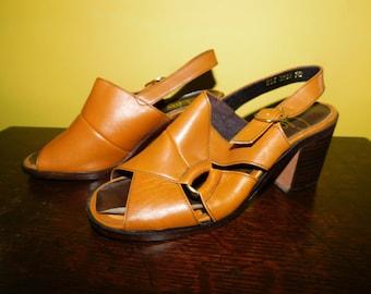 bae4eddd95fc6 Vintage 60s Slingback Leather Sandals Retro Gaymode JC Penny Sandals  Vintage Strapped Sandals Shoes Mad Men Style Low Heel Ladies Size 7B