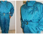 Vintage NOS One Piece Snow Suit Skiing Suit Roffe Aquarius Stargazer Skiing costume New Old Stock Size Large