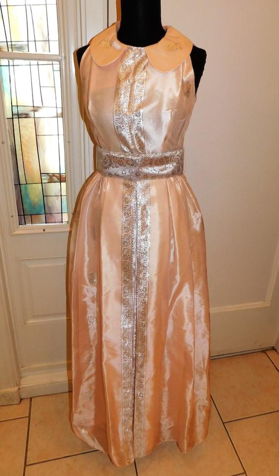 Vtg 60s Pastel Silver Peach Maxi Gown Peter Pan C… - image 2
