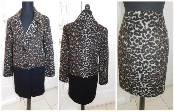 New Leopard Cheetah Faux Fur 2-Piece Skirt Suit Wo
