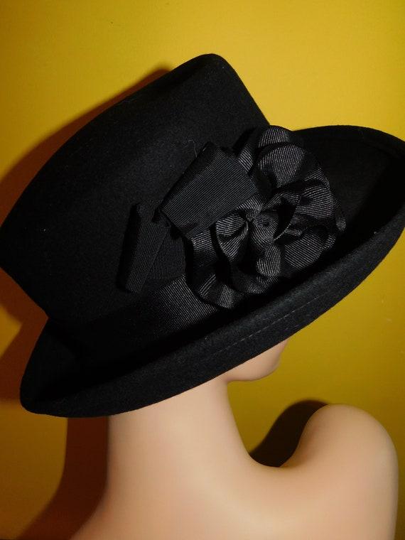 4767d5e6f72 Vintage Black Bollman Doeskin Felt Hat Fedora Brim Style