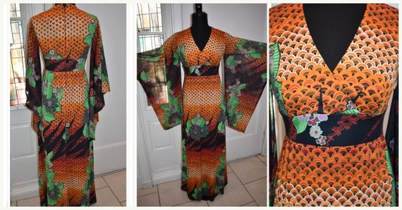 Vintage Tori Richard Kimono Sleeve Maxi Dress Hawa