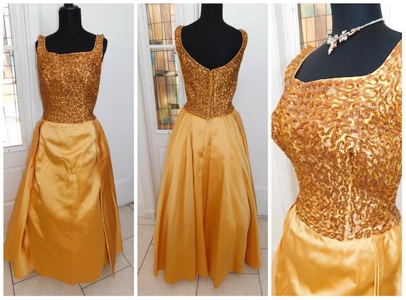 50s Gold Evening Gown Gold Sequined Taffeta Evenin