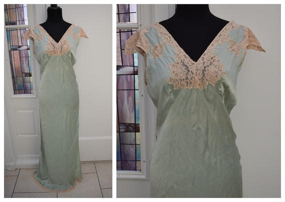 1930s Silk Nightgown  Luxurious Silk Chemise Gown,