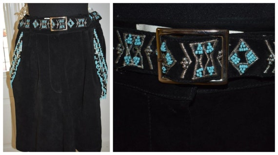Vintage Black Suede Native American Shorts, Vintag